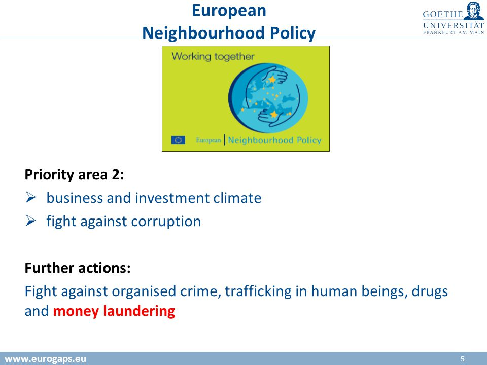5 www.eurogaps.eu European Neighbourhood Policy Priority area 2: business and investment climate fight against corruption Further actions: Fight against organised crime, trafficking in human beings, drugs and money laundering
