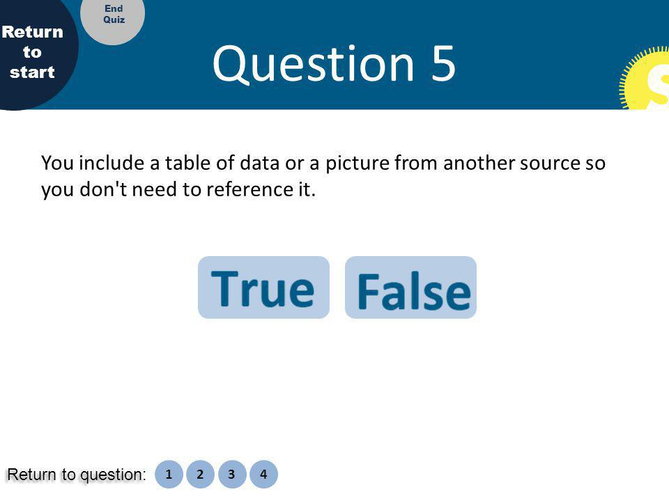 Question 5 You include a table of data or a picture from another source so you don t need to reference it.