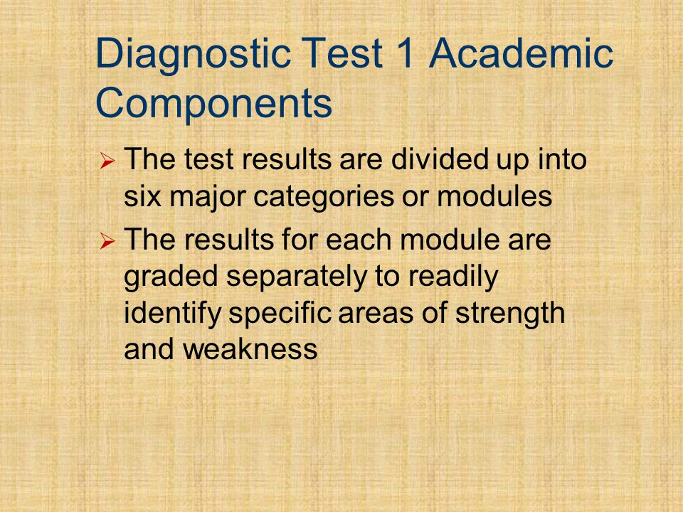 Diagnostic Test 1 Academic Components The test results are divided up into six major categories or modules The results for each module are graded separately to readily identify specific areas of strength and weakness