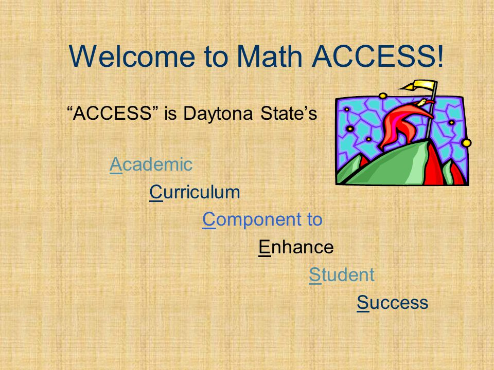 The ACCESS Modules Each module covers a specific area of mathematics