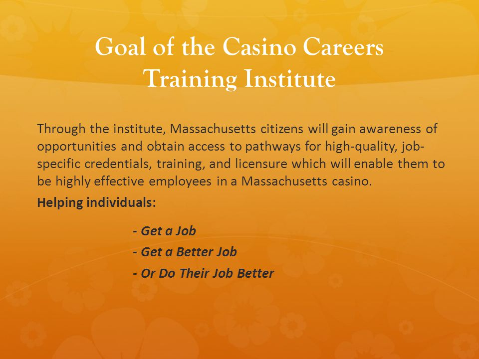 Goal of the Casino Careers Training Institute Through the institute, Massachusetts citizens will gain awareness of opportunities and obtain access to pathways for high-quality, job- specific credentials, training, and licensure which will enable them to be highly effective employees in a Massachusetts casino.