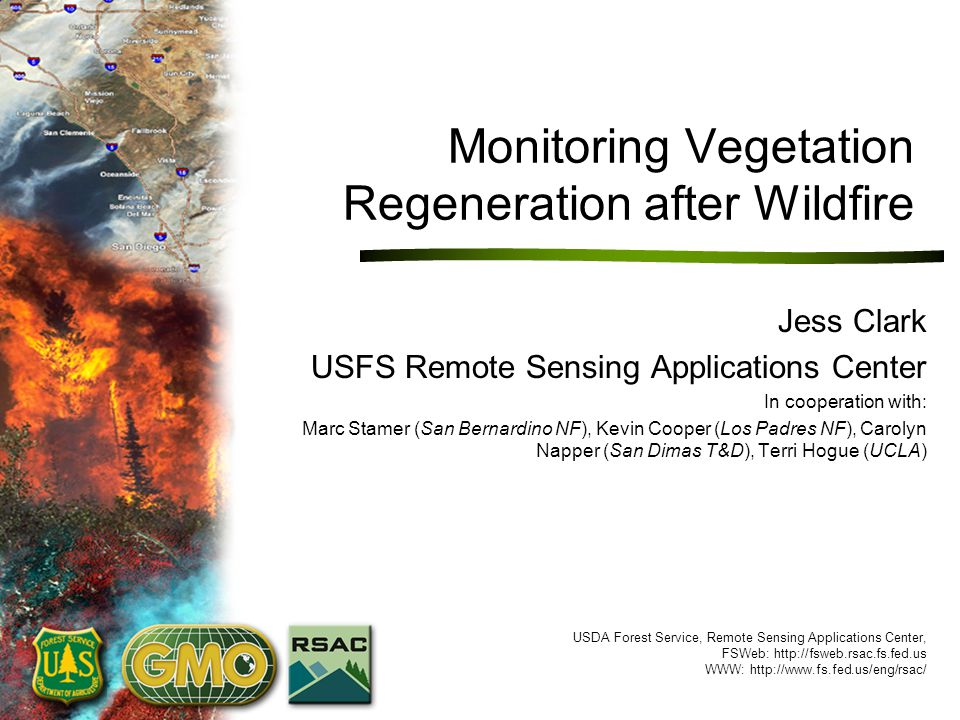 USDA Forest Service, Remote Sensing Applications Center, http://fsweb.rsac.fs.fed.us Need for Post-fire Monitoring Wildfire Effects BAER Assessments and Treatments Monitoring Requirements –Who, how often, for how long, who pays.