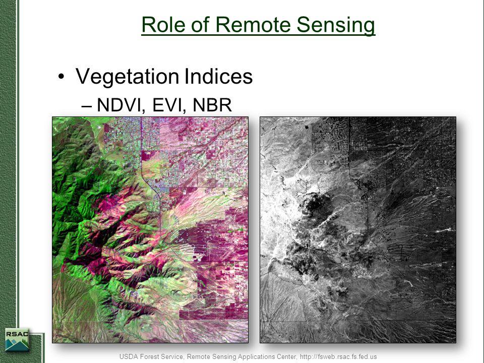 Role of Remote Sensing Vegetation Indices –NDVI, EVI, NBR USDA Forest Service, Remote Sensing Applications Center, http://fsweb.rsac.fs.fed.us