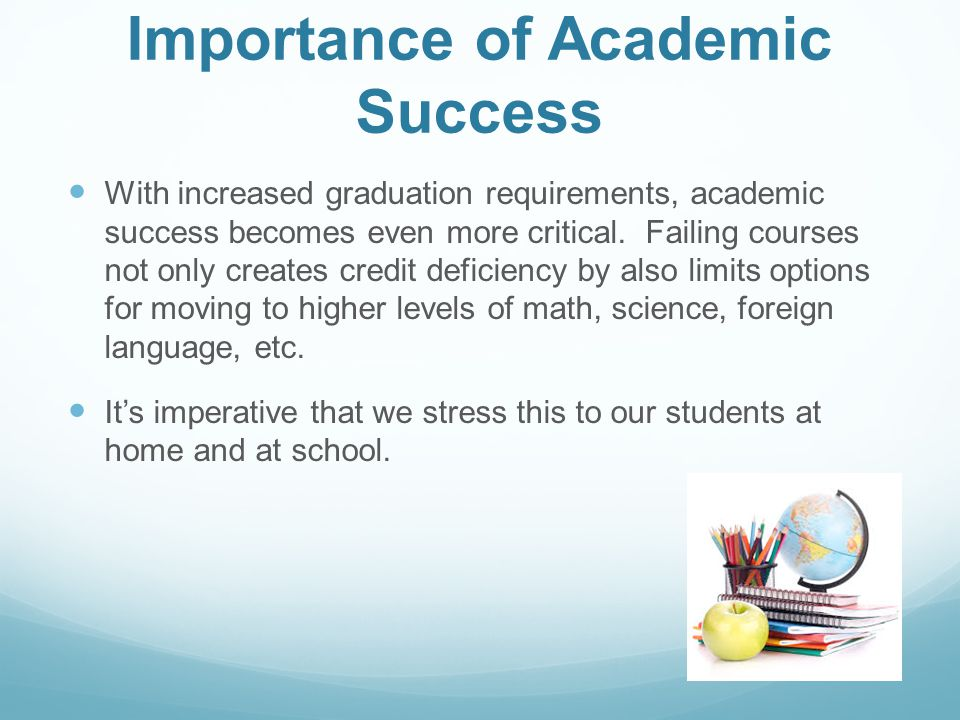 Importance of Academic Success With increased graduation requirements, academic success becomes even more critical. Failing courses not only creates c