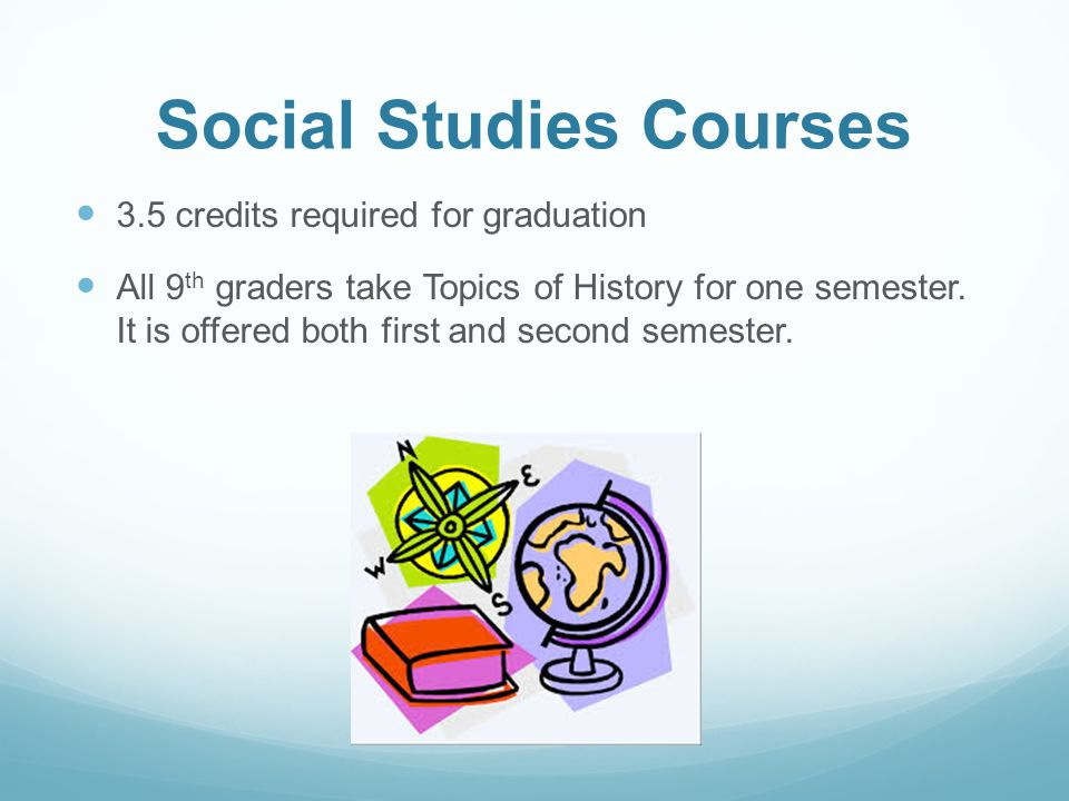 Social Studies Courses 3.5 credits required for graduation All 9 th graders take Topics of History for one semester. It is offered both first and seco