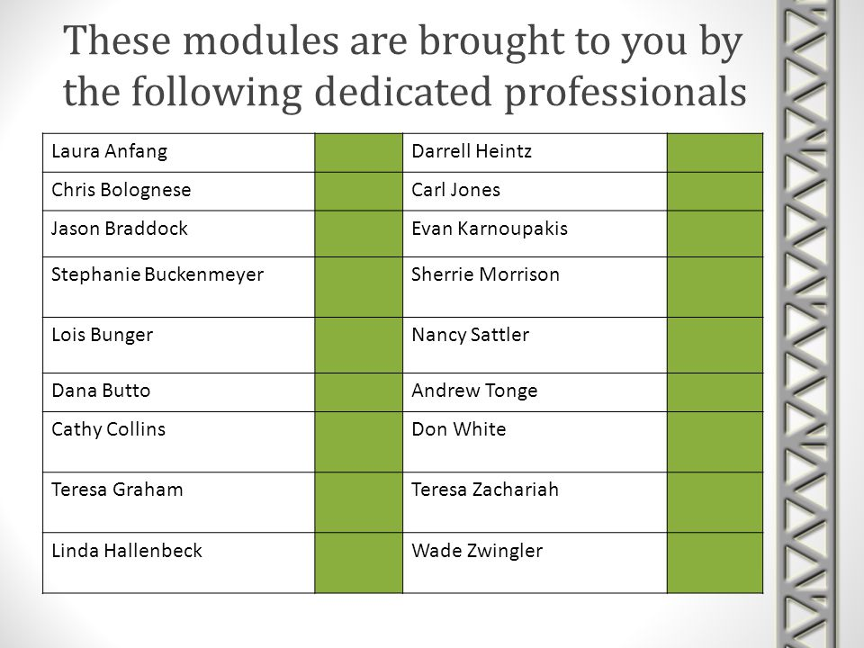 These modules are brought to you by the following dedicated professionals Laura AnfangDarrell Heintz Chris BologneseCarl Jones Jason BraddockEvan Karnoupakis Stephanie BuckenmeyerSherrie Morrison Lois BungerNancy Sattler Dana ButtoAndrew Tonge Cathy CollinsDon White Teresa GrahamTeresa Zachariah Linda HallenbeckWade Zwingler