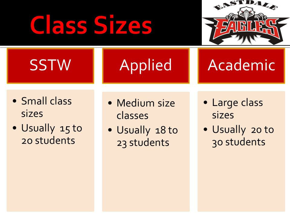 SSTW Small class sizes Usually 15 to 2o students Applied Medium size classes Usually 18 to 23 students Academi c Large class sizes Usually 20 to 3o students