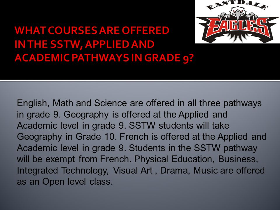 English, Math and Science are offered in all three pathways in grade 9.