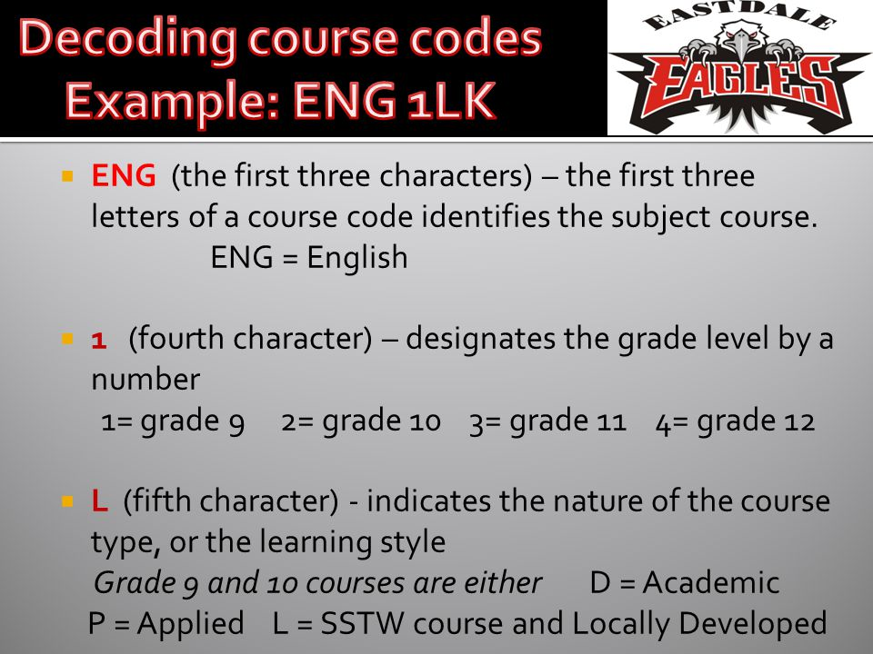 ENG (the first three characters) – the first three letters of a course code identifies the subject course. ENG = English 1 (fourth character) – design