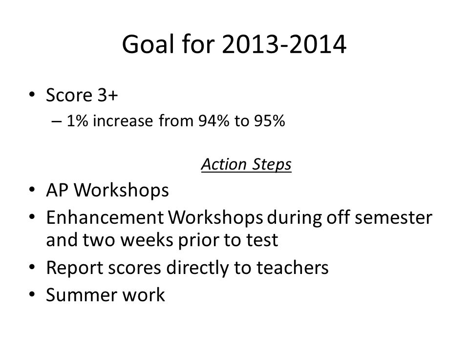 Goal for 2013-2014 Score 3+ – 1% increase from 94% to 95% Action Steps AP Workshops Enhancement Workshops during off semester and two weeks prior to test Report scores directly to teachers Summer work