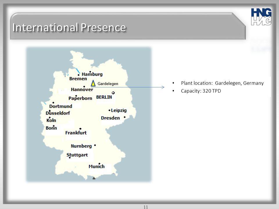 International Presence Plant location: Gardelegen, Germany Capacity: 320 TPD 11 Gardelegen