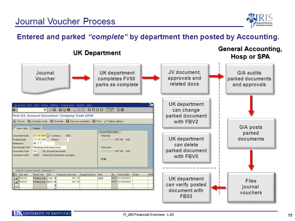 FI_200 Financial Overview - LSO 19 Journal Voucher Process Entered and parked complete by department then posted by Accounting.