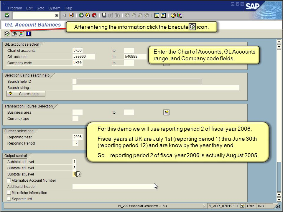 Enter the Chart of Accounts, GL Accounts range, and Company code fields.