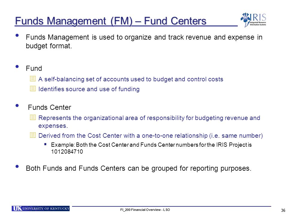 FI_200 Financial Overview - LSO 36 Funds Management (FM) – Fund Centers Funds Management is used to organize and track revenue and expense in budget format.