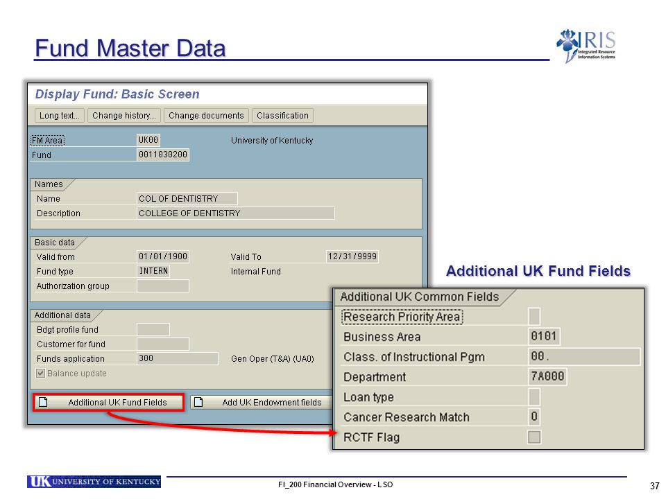 FI_200 Financial Overview - LSO 37 Fund Master Data Additional UK Fund Fields