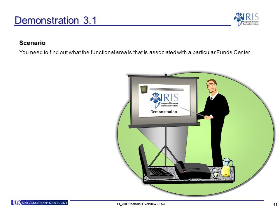 FI_200 Financial Overview - LSO 41 Demonstration 3.1 Scenario You need to find out what the functional area is that is associated with a particular Funds Center.