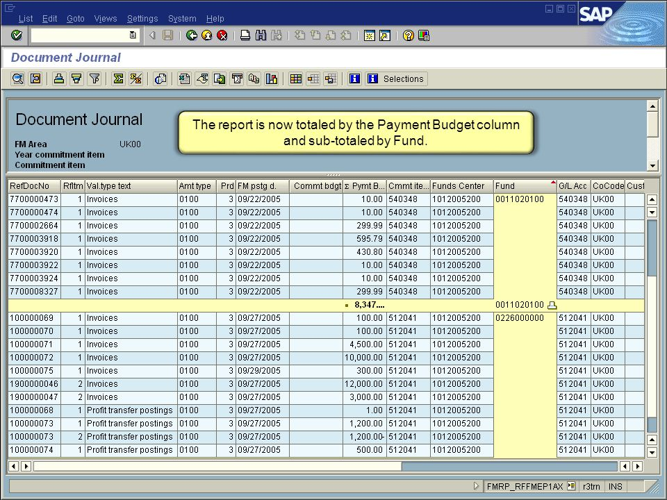 53 FI_200 Financial Overview - LSO The report is now totaled by the Payment Budget column and sub-totaled by Fund.