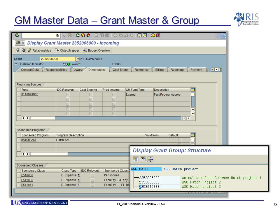 GM Master Data – Grant Master & Group 72 FI_200 Financial Overview - LSO