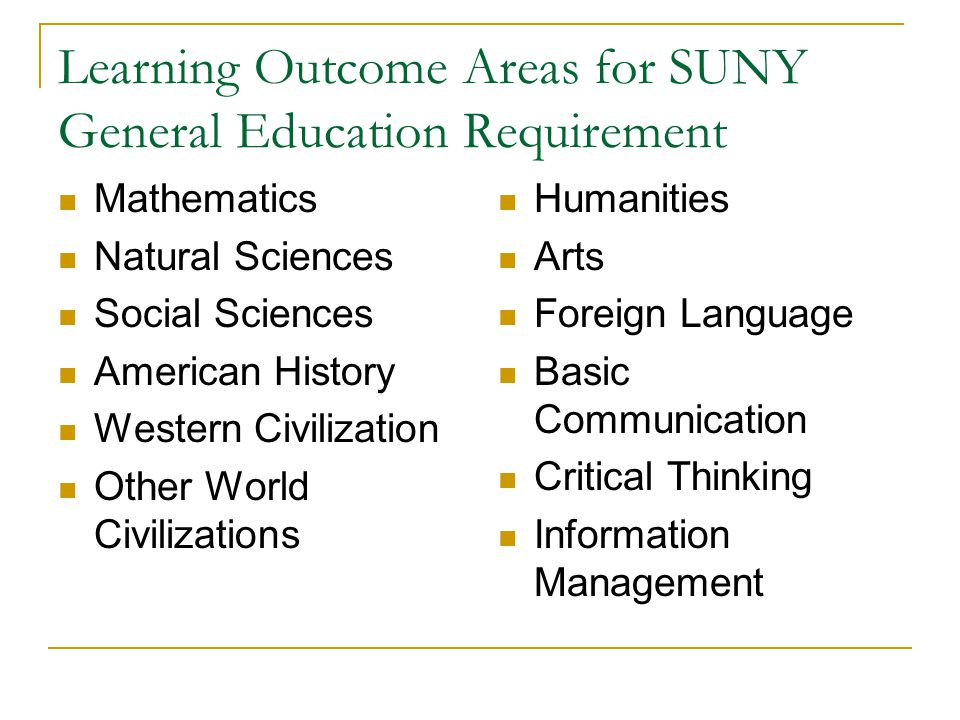 Learning Outcome Areas for SUNY General Education Requirement Mathematics Natural Sciences Social Sciences American History Western Civilization Other