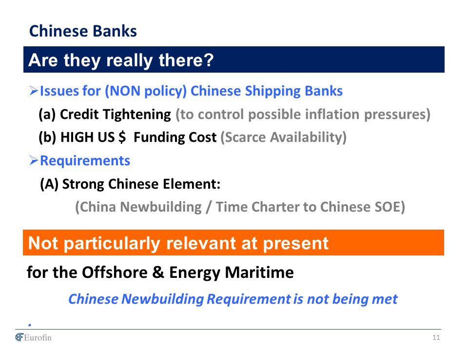 Are they really there? Chinese Banks Issues for (NON policy) Chinese Shipping Banks (a) Credit Tightening (to control possible inflation pressures) (b