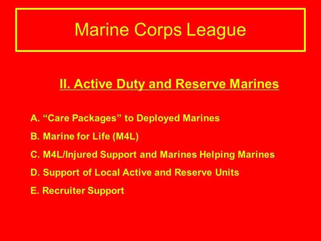 Marine Corps League II. Active Duty and Reserve Marines A. Care Packages to Deployed Marines B. Marine for Life (M4L) C. M4L/Injured Support and Marin