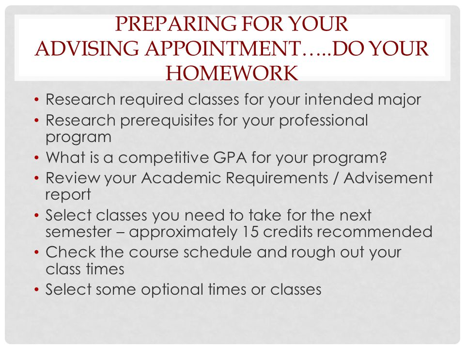PREPARING FOR YOUR ADVISING APPOINTMENT…..DO YOUR HOMEWORK Research required classes for your intended major Research prerequisites for your professional program What is a competitive GPA for your program.