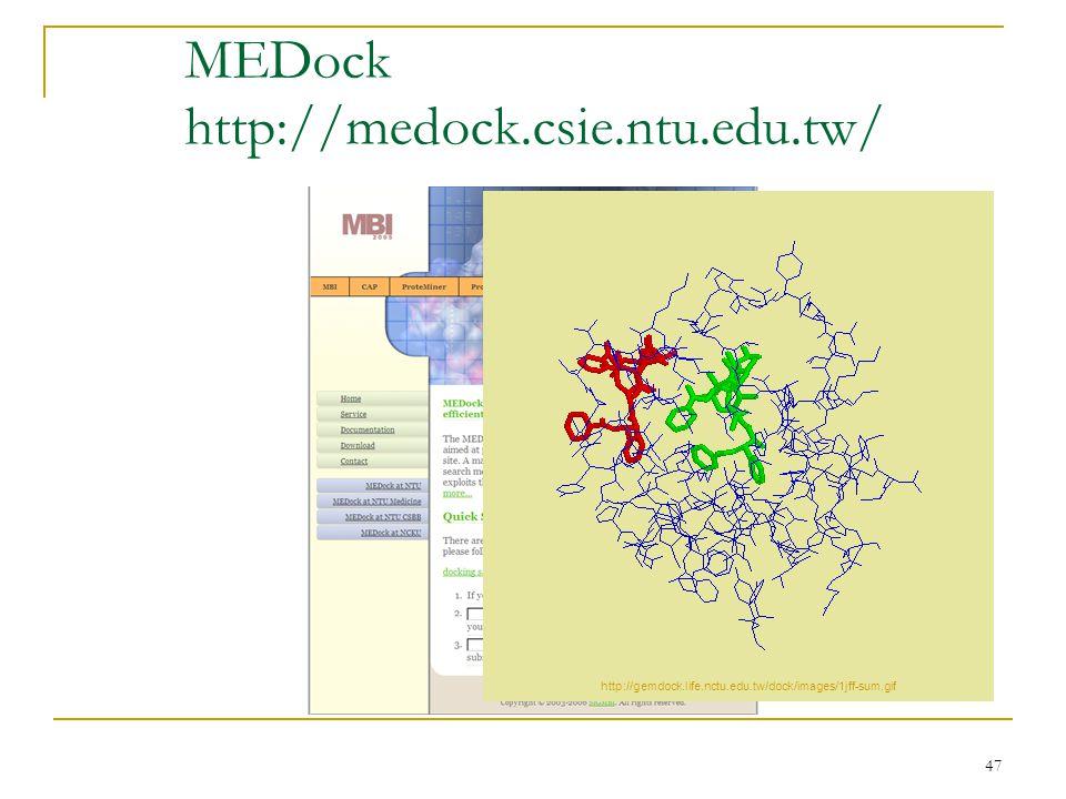 47 MEDock http://medock.csie.ntu.edu.tw/ http://gemdock.life.nctu.edu.tw/dock/images/1jff-sum.gif