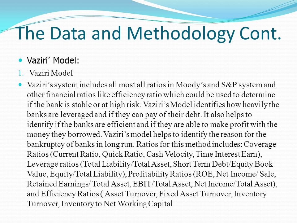 The Data and Methodology Cont. Vaziri Model: 1. Vaziri Model Vaziris system includes all most all ratios in Moodys and S&P system and other financial