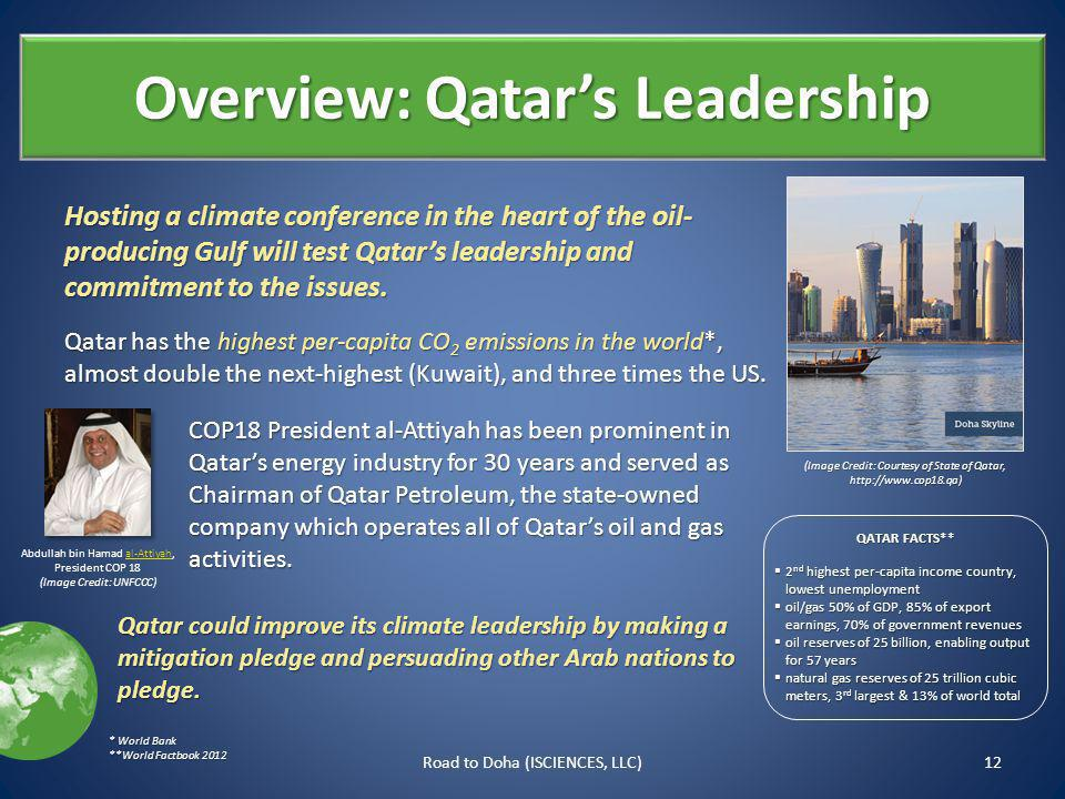 Overview: Qatars Leadership Hosting a climate conference in the heart of the oil- producing Gulf will test Qatars leadership and commitment to the issues.