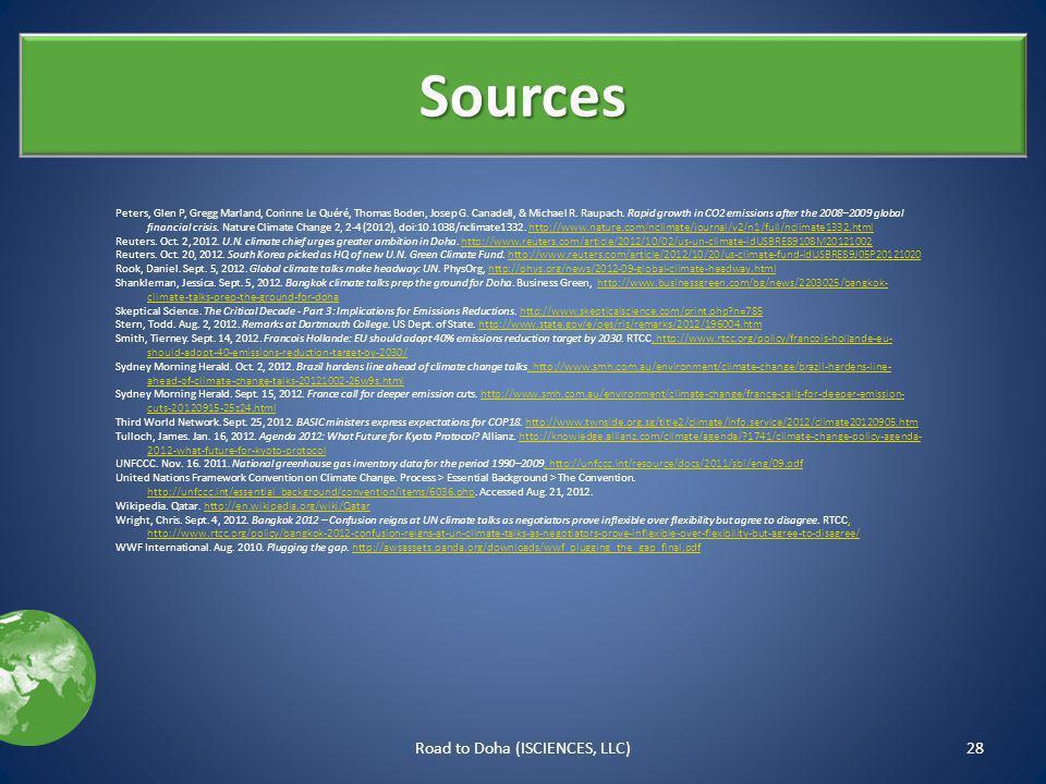 Sources Peters, Glen P, Gregg Marland, Corinne Le Quéré, Thomas Boden, Josep G.