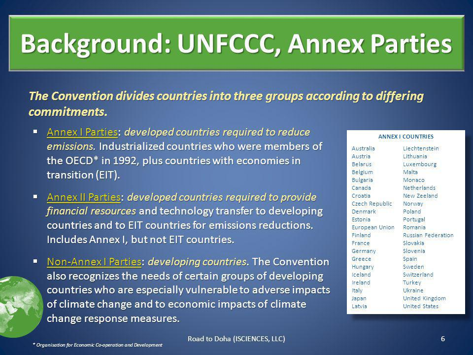 Background: UNFCCC, Annex Parties The Convention divides countries into three groups according to differing commitments The Convention divides countries into three groups according to differing commitments.