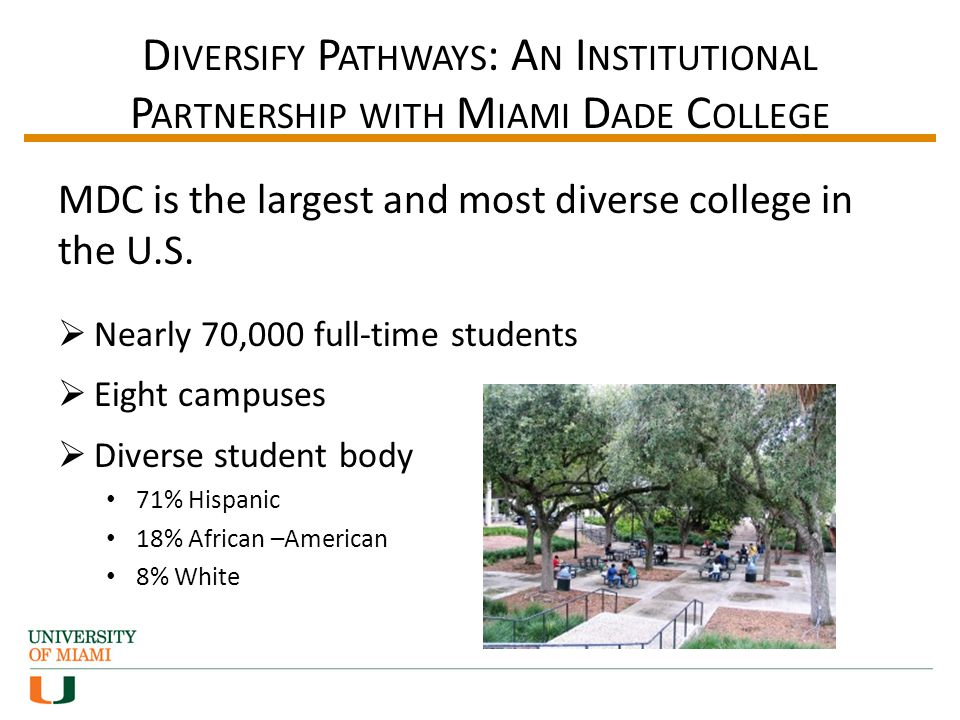 D IVERSIFY P ATHWAYS : A N I NSTITUTIONAL P ARTNERSHIP WITH M IAMI D ADE C OLLEGE MDC is the largest and most diverse college in the U.S.