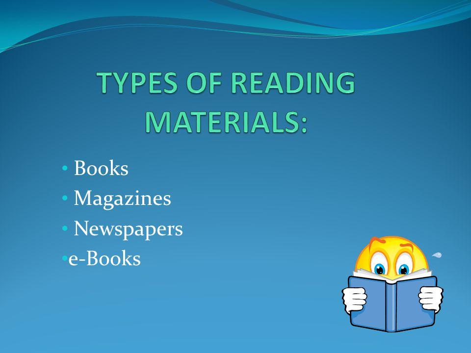 Books Magazines Newspapers e-Books