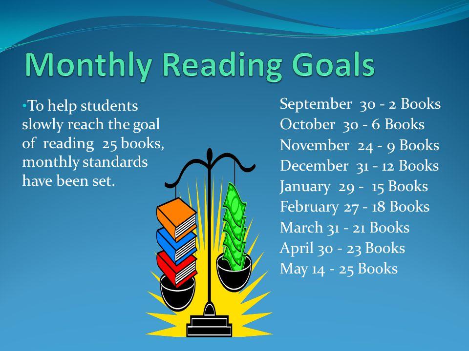 September 30 - 2 Books October 30 - 6 Books November 24 - 9 Books December 31 - 12 Books January 29 - 15 Books February 27 - 18 Books March 31 - 21 Bo