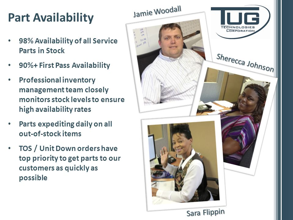 98% Availability of all Service Parts in Stock 90%+ First Pass Availability Professional inventory management team closely monitors stock levels to ensure high availability rates Parts expediting daily on all out-of-stock items TOS / Unit Down orders have top priority to get parts to our customers as quickly as possible Part Availability Jamie Woodall Sherecca Johnson Sara Flippin
