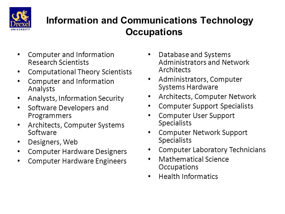Information and Communications Technology Occupations Database and Systems Administrators and Network Architects Administrators, Computer Systems Hardware Architects, Computer Network Computer Support Specialists Computer User Support Specialists Computer Network Support Specialists Computer Laboratory Technicians Mathematical Science Occupations Health Informatics Computer and Information Research Scientists Computational Theory Scientists Computer and Information Analysts Analysts, Information Security Software Developers and Programmers Architects, Computer Systems Software Designers, Web Computer Hardware Designers Computer Hardware Engineers