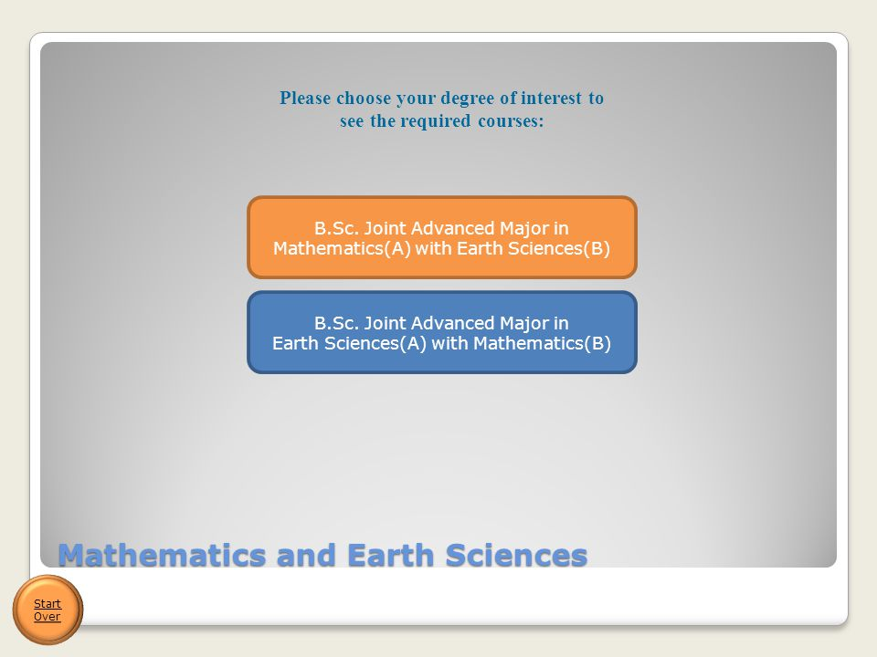 Mathematics and Earth Sciences Start Over B.Sc.