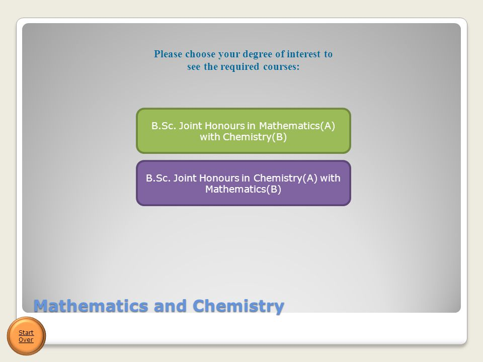 Mathematics and Chemistry Start Over B.Sc. Joint Honours in Mathematics(A) with Chemistry(B) B.Sc.