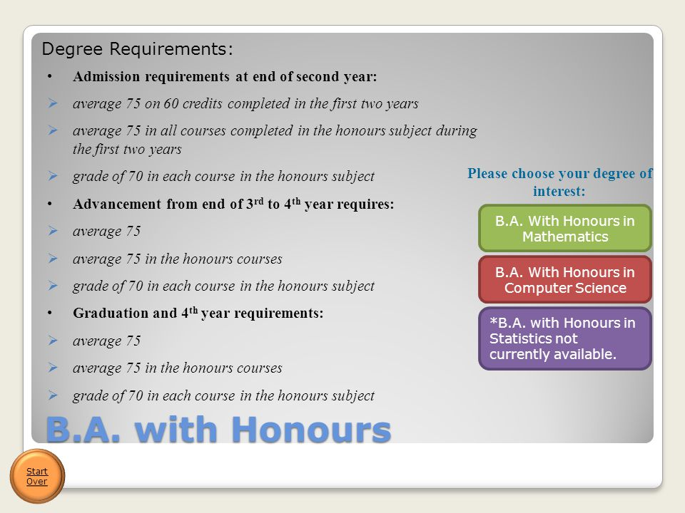 B.A. with Honours *B.A. with Honours in Statistics not currently available.