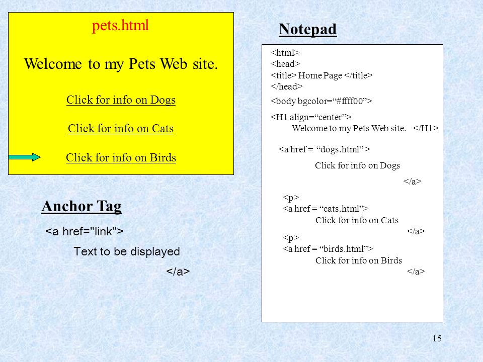 15 pets.html Welcome to my Pets Web site. Click for info on Dogs Click for info on Cats Click for info on Birds Notepad Home Page Welcome to my Pets W