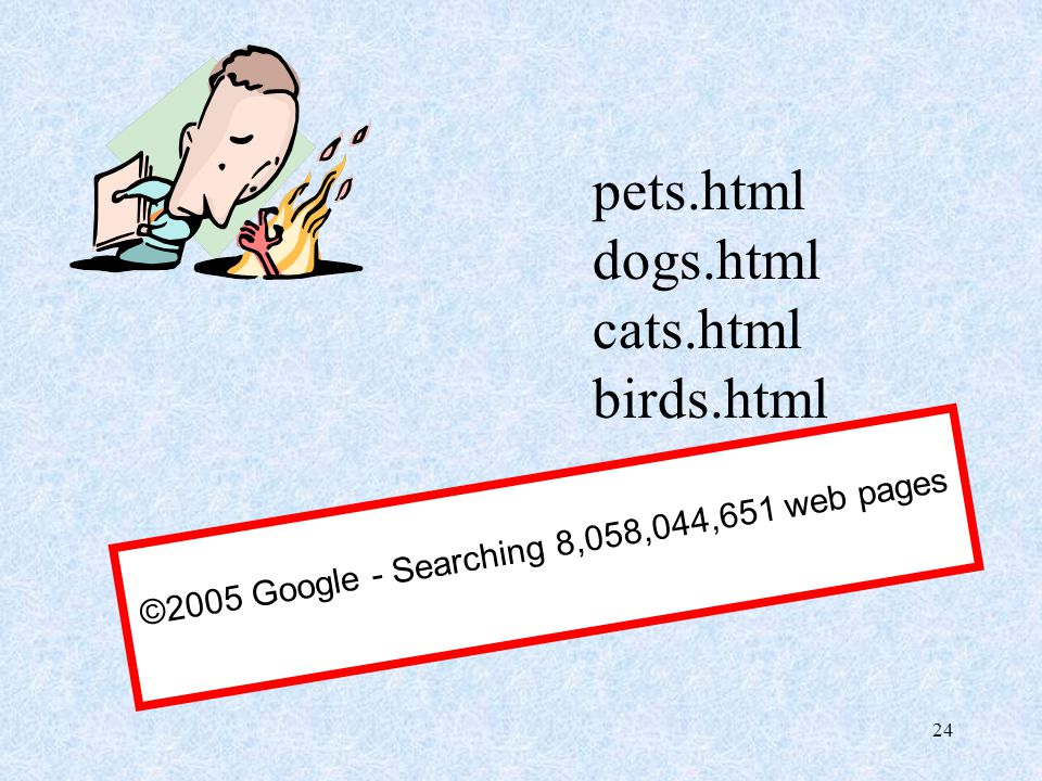 24 pets.html dogs.html cats.html birds.html ©2005 Google - Searching 8,058,044,651 web pages