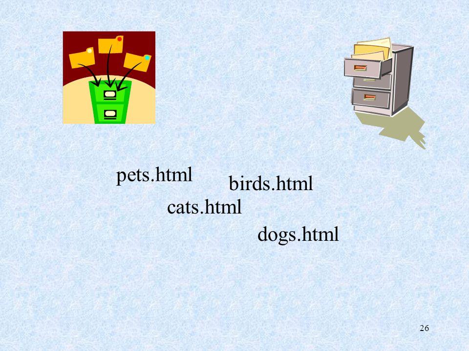 26 pets.html cats.html dogs.html birds.html