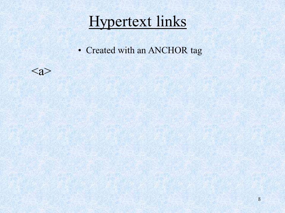 8 Hypertext links Created with an ANCHOR tag