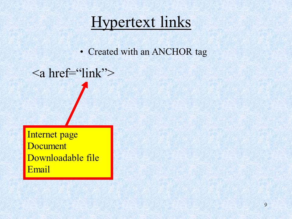 10 Hypertext links Created with an ANCHOR tag Text to be displayed