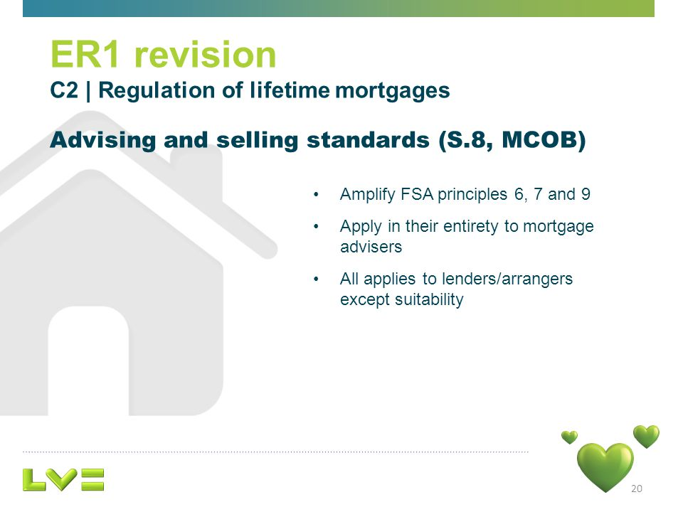 20 Amplify FSA principles 6, 7 and 9 Apply in their entirety to mortgage advisers All applies to lenders/arrangers except suitability ER1 revision C2 | Regulation of lifetime mortgages Advising and selling standards (S.8, MCOB)