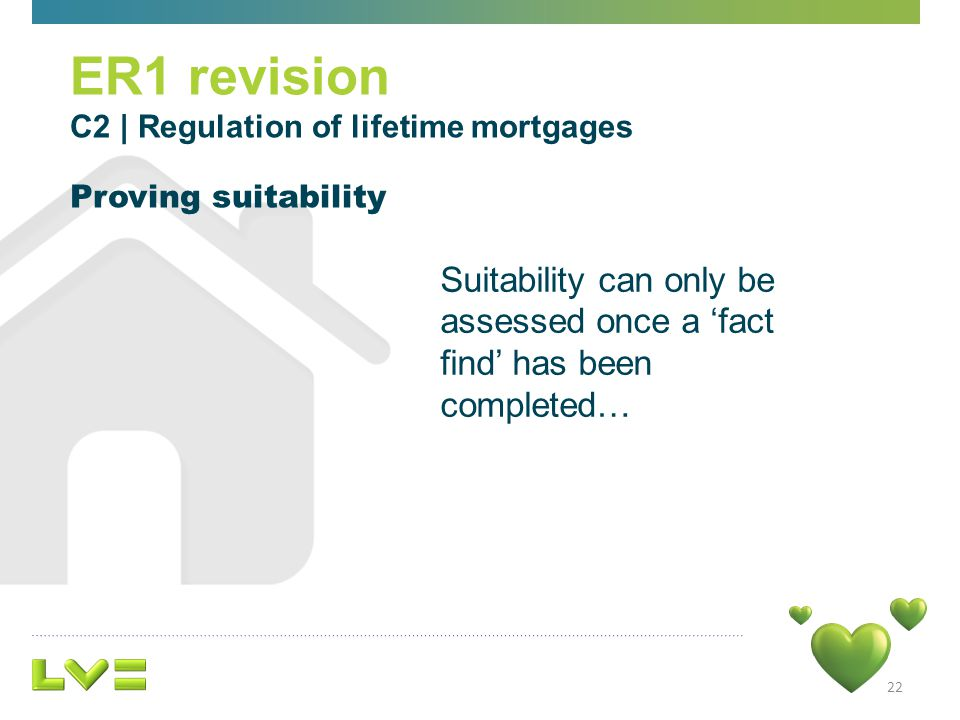 Suitability can only be assessed once a fact find has been completed… 22 ER1 revision C2 | Regulation of lifetime mortgages Proving suitability