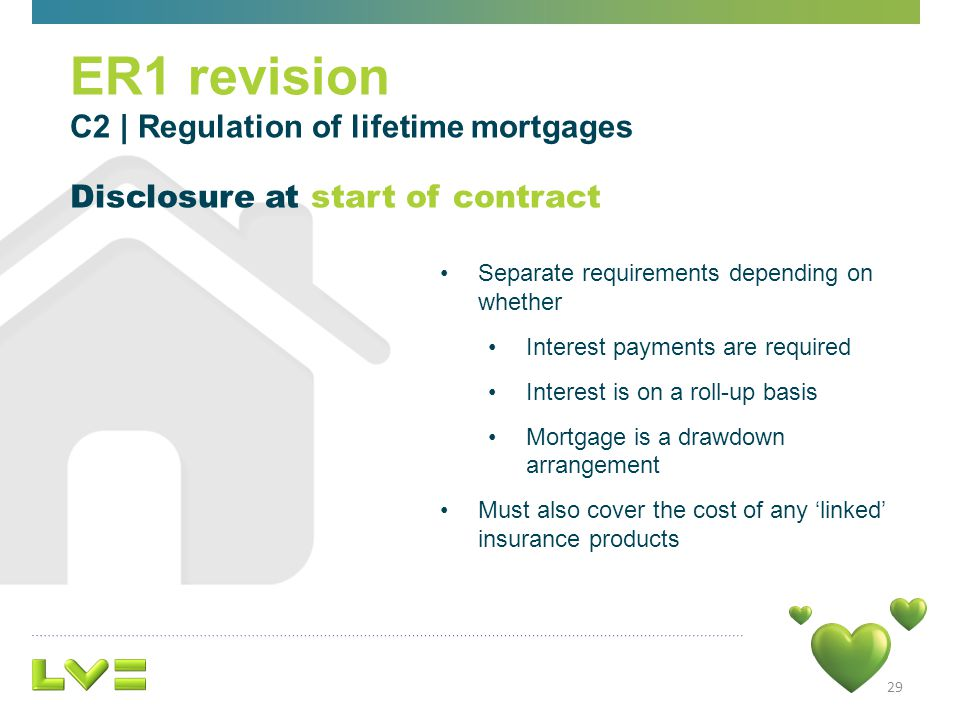 29 ER1 revision C2 | Regulation of lifetime mortgages Disclosure at start of contract Separate requirements depending on whether Interest payments are required Interest is on a roll-up basis Mortgage is a drawdown arrangement Must also cover the cost of any linked insurance products