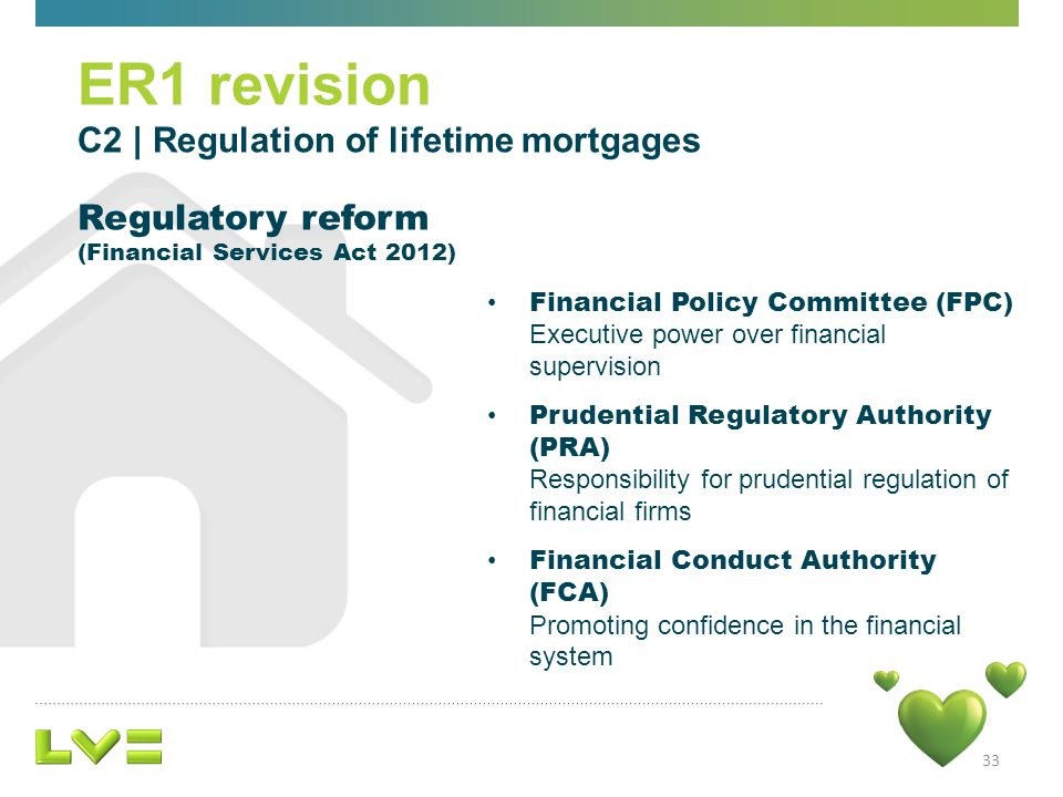 33 ER1 revision C2 | Regulation of lifetime mortgages Regulatory reform (Financial Services Act 2012) Financial Policy Committee (FPC) Executive power over financial supervision Prudential Regulatory Authority (PRA) Responsibility for prudential regulation of financial firms Financial Conduct Authority (FCA) Promoting confidence in the financial system