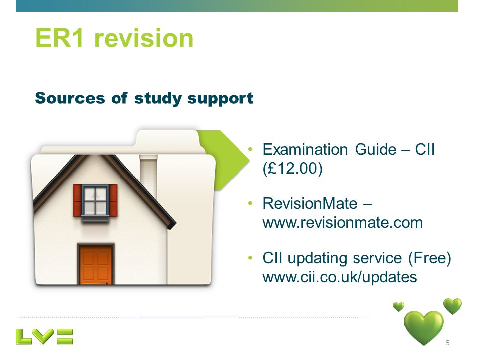 Sources of study support 5 ER1 revision Examination Guide – CII (£12.00) RevisionMate – www.revisionmate.com CII updating service (Free) www.cii.co.uk/updates