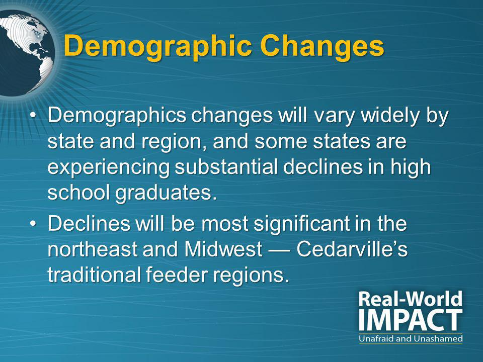 Demographics changes will vary widely by state and region, and some states are experiencing substantial declines in high school graduates.Demographics changes will vary widely by state and region, and some states are experiencing substantial declines in high school graduates.